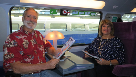 Sherri & John Rost on train from Paris, France to Basel, Switzerland